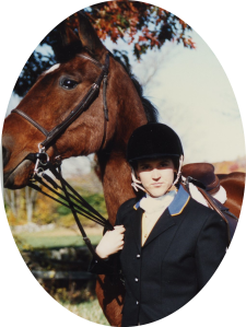 Donning my Fairfield County Hounds hunt colors with Speculation at Golden's Bridge Hounds Hunter Pace ~ 1993