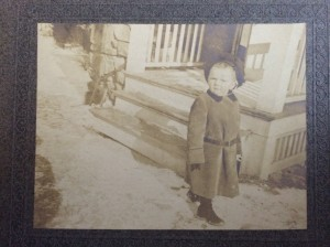 Young Bulow outside the coachman's cottage on Meriwether in Pocantico Hills, New York