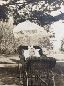 Bulow in a wicker pram as a baby