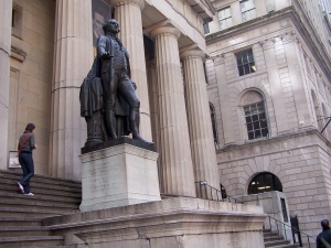 George Washington Statue on the steps of Federal Hall, New York City, to commemorate his first inaugural speech at that site.