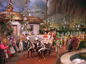 Admiral pulling a carriage in Munchkinland in The Wizard of Oz