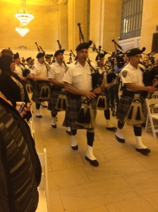 Only thing better than hearing bagpipes in Grand Central Terminal is Marcus Lovett singing the National Anthem