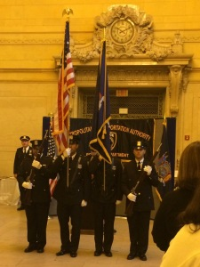 MTA Pipe & Drum Corps presents the colors at the MTA Police Canine Explosive Detection Graduation