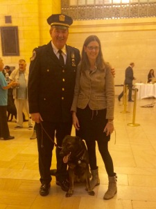Lt. John Kerwick, his recent graduate K-9 Seabee, a German Shepherd, and me.