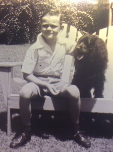 Bobby Nelson with his aunt's Cocker Spaniel - Vicky - named for Victory Day in 1945.