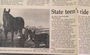 Newspaper clipping - State teen's ride clinched a national title - from the New Haven Journal-Courier, November 25, 1983