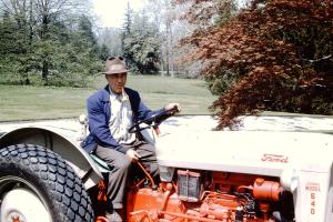 Estate worker Steve Codis driving the tractor. He helped Emery with the big burn.
